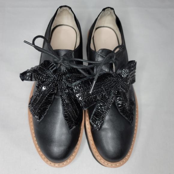 ZARA black derby platform bow laces dress shoes